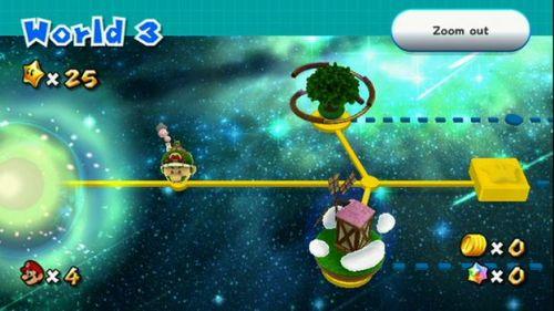 El juego retoma la navegación de Super Mario Bros 3 y New Super Mario Bros.