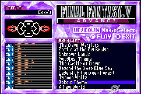 También la versión de GBA incluye un reproductor Musical.