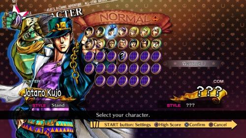 La pantalla de selección del juego, todos los demás personajes se deben desbloquear para desgracia de varios